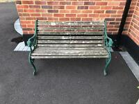 Wraught iron bench.