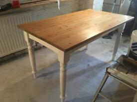 Solid Pine Farmhouse Dinner kitchen Dining Table