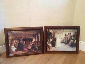 2 Pictures in Oak Colour Picture Frames