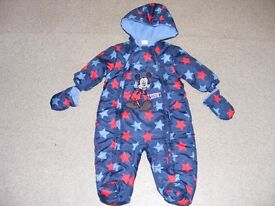 Childs Disney Mickey Mouse, warm, padded outdoor all in one size 3-6months