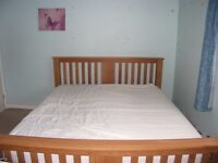Solid Oak Bed Frame, Memory Foam Mattress and Bedding