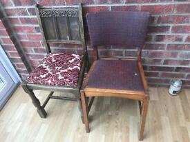 2x vintage retro dining chairs ideal project