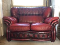 Chesterfield Red Leather Sofa For Sale