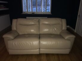 Two Cream Leather Recliner Sofa's