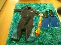 Fins size 7-9 , weight belt -Lumb Bros. Wet Suit 3/4 length - Neoprene size XLG