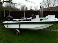 13.5 ft dory fishing boat with Mercury 40 out board motor
