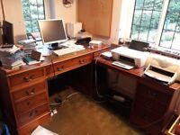 Leather topped large antique desk. Integrated smaller desk