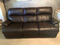 2 x leather recliner sofas - 3 seater (electric) - 2 seater (manual)