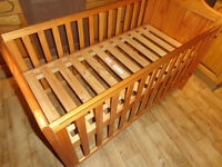 Mothercare Cot / Cotbed with changing table + M&P mat. 4, 3 or 2 sided junior bed. Loc deliv poss.