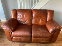 2 x two seater napper leather terracotta sofa chairs