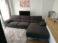 Large Grey Corner Sofa with Headrests, DELIVERY AVAILABLE