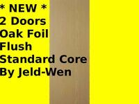 * NEW * 2 x DOORS INTERNAL OAK FOIL Flush Standard Core Doors Wardrobe Jeld-wen Jeldwen 533mm 457mm