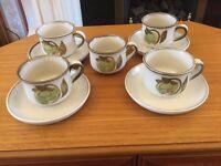 4 Denby Troubadour Teacups and Saucers + 1 Extra Cup