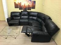 Reclining Black Leather Corner Sofa