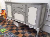 Shabby Chic Style Sideboard painted in Annie Sloan Paris Grey and white