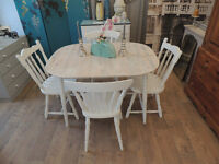 Lovely shabby chic farmhouse dining table with 4 chairs
