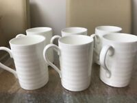 Bone China white mugs x6 linea