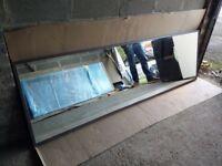 Very Large shop dressing room mirror slim solid wood frame