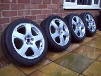 "17"" SANTA MONICA STYLE ALLOYS WITH TYRES - 5X100 - AUDI TT - GOLF MK4 -"