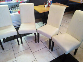 FOUR FAUX LEATHER IVORY DINING CHAIRS BOUGHT FROM BARRITTS YORK FOR £89.00 EACH, WILL ACCEPT £100.00