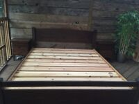 Solid wood small super king size bed frame by Warren Ewans, 168cm wide with drawer and 2 bedsides