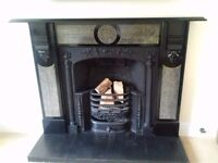 Stunning complete slate fireplace, surround, grate and hearth