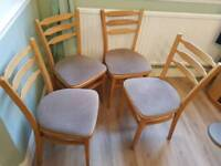 4 wood chair with padded seats