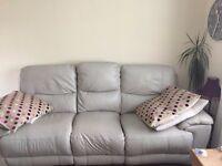 Cream leather recliner sofa