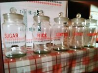 5 storage jars for sale will sell as lot or individual