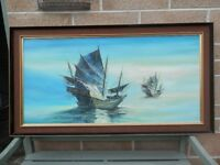 Large Oil Painting of Chinese Sail Boats