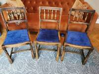 3 Country Style Elm Dining Chairs