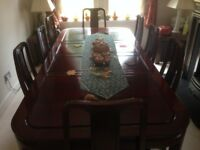 Handmade Solid Rosewood Dining table and Sideboard with 8 chairs