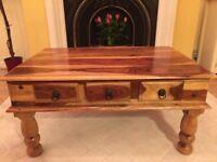 Beautiful, Rare, Tiger Striped, Solid Oak, Coffee Table
