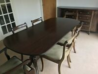 Dining table and 6 chairs plus trolley