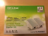 TP Link Powerline / Homeplug network adapters - set of 4. Extend your home / office network / WiFi