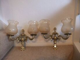 FREE-Wall Lights x2, Glass & Brass finish, Good Condition