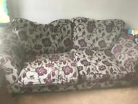Grey and purple sofa 3-4 seater
