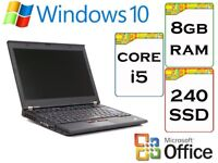 VERY QUICK - Lenovo Thinkpad x220 i5 2.6Ghz 8GB Ram 240gb SSD Windows 10 Laptop