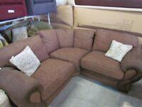 Brown Corner fabric Corner Sofa, Can Seat 4