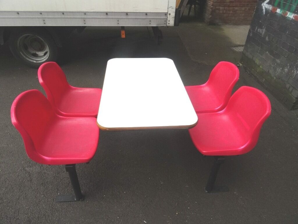 takeaway cafe canteen indoor factory table with 4 attached chairs job lot in stockport manchester gumtree