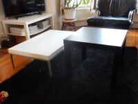 FREE DELIVERY 2 x IKEA Coffee Side TABLES Black + White Modern METAL FRAME