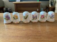 6 Queensway Thimbles - Flower Patterns