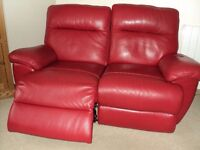 Two Red Leather Reclining Settees