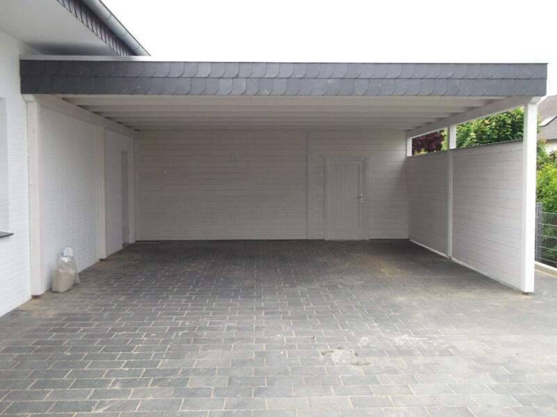 carport doppelcarport abstellraum flachdach leimholz schiefer in nordrhein westfalen l hne. Black Bedroom Furniture Sets. Home Design Ideas