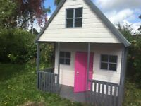 Wooden Wendy/Play House with 3 floors (ground, mezzanine and roof) approx 10foot high x 8foot square