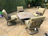 Metal 5-Piece Garden/Patio Furniture Set With Fire-pit Table+Cushions - Free Delivery In Southampton