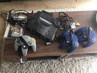 Nintendo 64 console, 007 Goldeneye game and 3 controllers