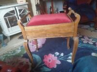 Piano stool..sewing hobbies box?.open lid old vintage upcycle wood collect aberbargoed