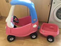 Little tikes princess cosy coupe pink with trailer, Superb condition
