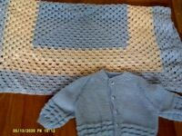 hand made new blanket and cardigan 10.00